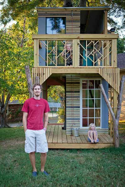 50 kids treehouse designs for Cheap 2 story houses