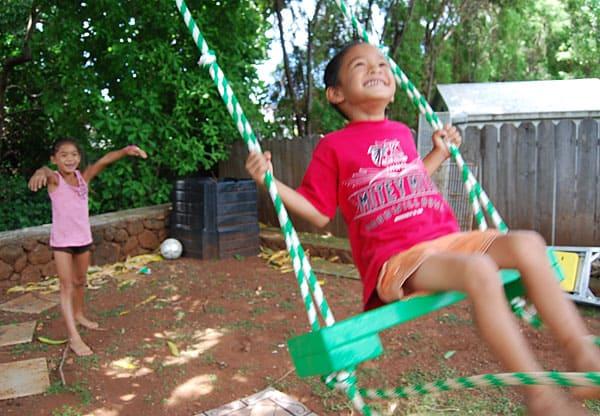 swinging in the tree