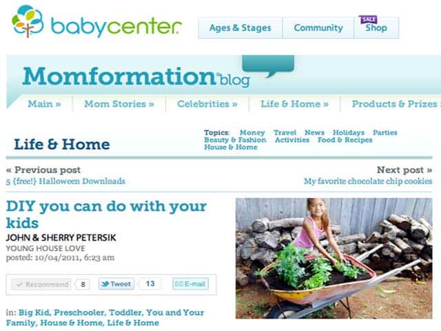 We're on BabyCenter! Thanks Young House Love