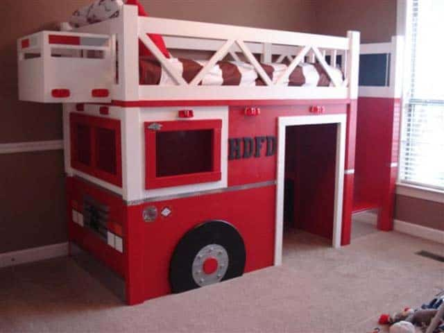 A loft bed turned fire truck - Fire engine bed plans ...