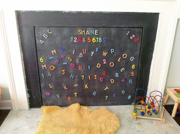 Creative fireplace childproofing using a magnetic chalk board - Ideas to cover fireplace opening ...