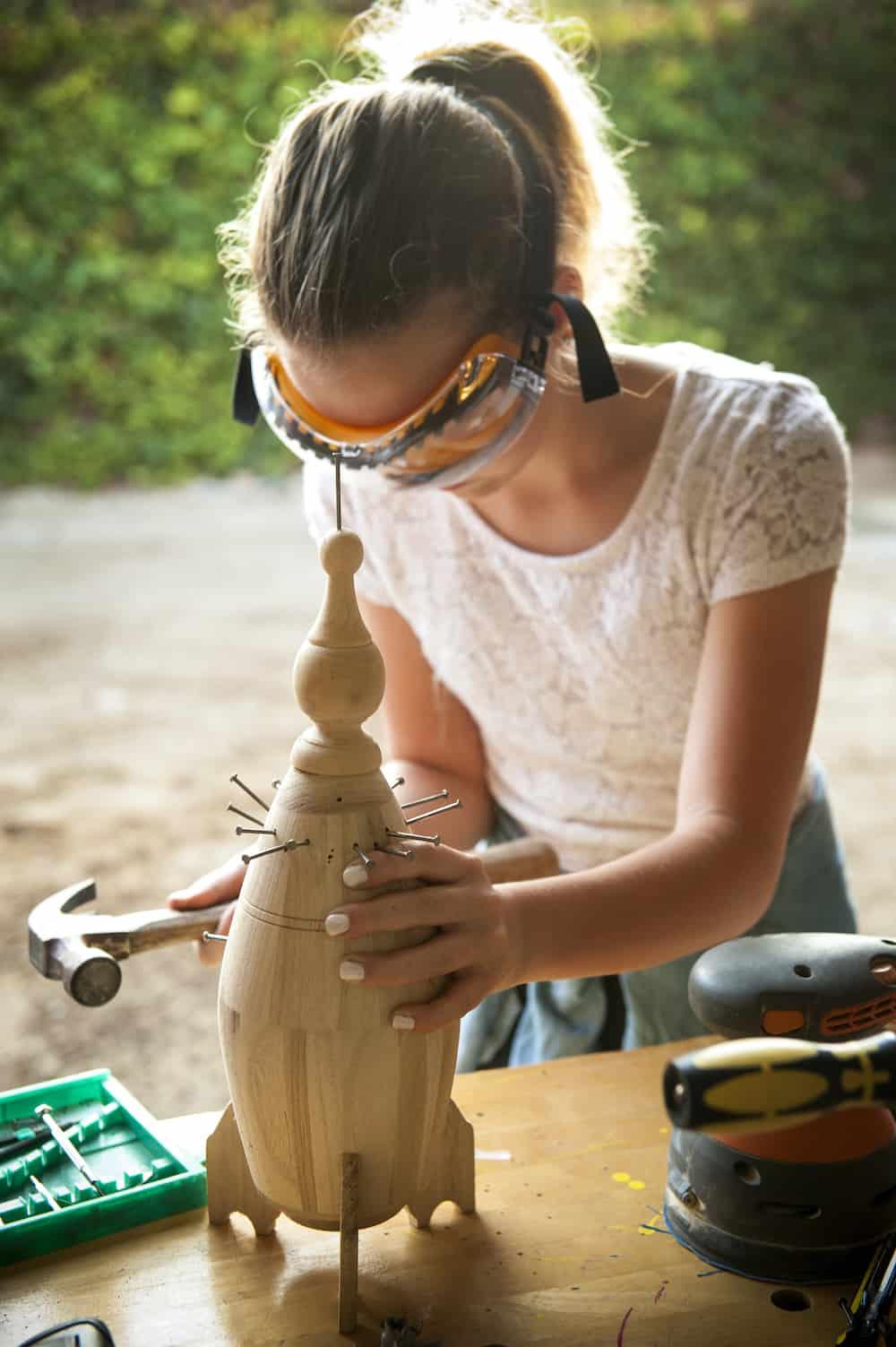 girl woodworking
