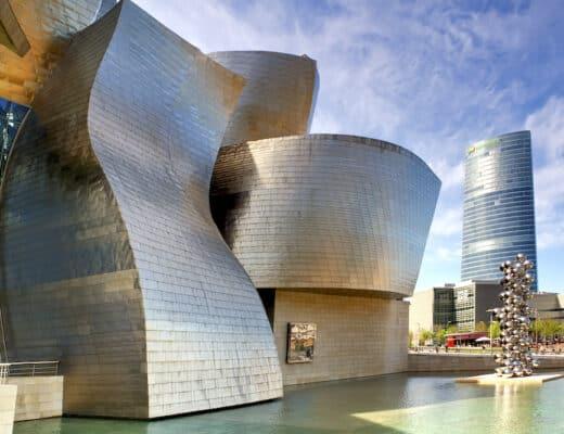 """Bilbao, Spain - May 1, 2012: Exterior of The Guggenheim Museum"""